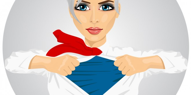 Confident businesswoman with superhero suit under her skirt